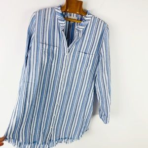 Cloth & Stone Linen Raw Hem Striped Shirtdress M